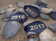 3d pebble on sand year 2017 Stock Photo