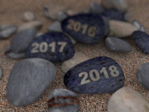 3d pebble on sand year 2018 Stock Photos