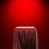3d pedestal and red fabric Stock Image