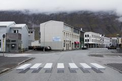 3d Pedestrian crossing in Iceland. ISAFJORDUR, ICELAND - SEPTEMBER 30, 2017: An innovative pedestrian crossing in the town of Isafjordur in western Iceland has Royalty Free Stock Photos