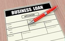 3d pen and business loan application. 3d illustration of pen and business loan application Stock Images