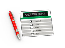 3d pen and credit score rating. 3d illustration of red  pen and credit score rating Royalty Free Stock Image