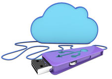 3d pen drive and cloud Stock Photos