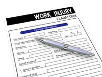 3d pen and work injury claim form. 3d illustration of pen over work injury compensation claim form Stock Photography