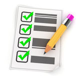 3d pencil and check list. On white background Royalty Free Stock Image