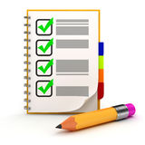 3d pencil and check list. On white background Stock Images