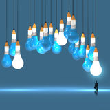 3d pencil and light bulb concept creative. Businessman looking at 3d pencil and light bulb concept creative and leadership as concept Stock Image