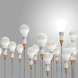 3d pencil and light bulb concept creative. And leadership as concept Royalty Free Stock Images