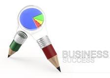 3d pencil light bulb drawing business success Stock Photos
