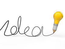 3d pencil light bulb with idea text. 3d render of pencil light bulb with idea text Stock Photo