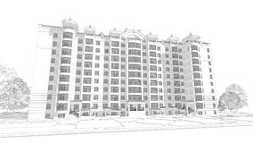 3d pencil sketch illustration of a modern multistory building exterior and yard landscape design. 3d pencil sketch illustration of a modern multistory building Royalty Free Stock Photo