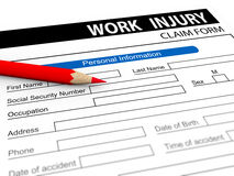 3d pencil and work injury claim form Stock Photos