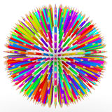 3d pencils arranged in spherical shape Stock Image