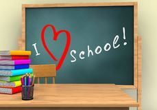 3d pencils. 3d illustration of board with love school text and Royalty Free Stock Photography