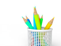 3d pencils in pencil holder Stock Image