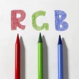 3d pencils rgb-white Royaltyfri Fotografi