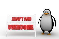 3d Penguin With Adapt and overcome concept Stock Photos