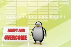 3d Penguin With Adapt and overcome illustration Stock Images