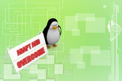 3d Penguin With Adapt and overcome illustration Stock Photos
