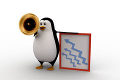3d penguin advertise on speaker about growth concept Stock Image