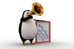 3d penguin advertise on speaker about growth concept Royalty Free Stock Photo