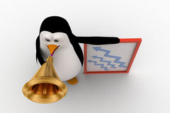 3d penguin advertise on speaker about growth concept Royalty Free Stock Photos