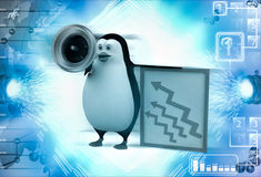 3d penguin advertise on speaker about growth illustration Stock Image