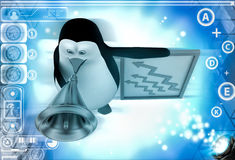 3d penguin advertise on speaker about growth illustration Royalty Free Stock Image