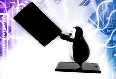 3d penguin advertisement illustration Royalty Free Stock Photo