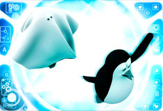 3d penguin afraid and running from ghost illustration Stock Photo