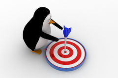3d penguin aim on target using dart concept Stock Image