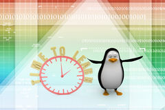 3d penguin with an Alarm clock. Time to learn Illustration Stock Photo