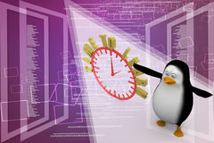3d penguin with an Alarm clock. Time to learn Stock Images