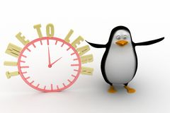 3d penguin with an Alarm clock. Time to learn Royalty Free Stock Image