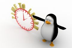 3d penguin with an Alarm clock. Time to learn Royalty Free Stock Photos
