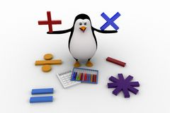 3d penguin with all mathematical symbols and calculator concept Royalty Free Stock Photography