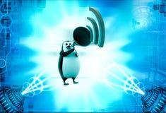 3d penguin announce in speaker illustration Royalty Free Stock Images