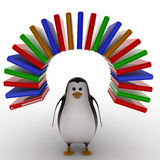 3d penguin with arc of books concept Royalty Free Stock Image