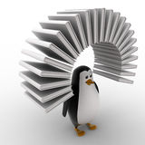 3d penguin with arc of books concept Royalty Free Stock Photography
