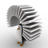 3d penguin with arc of books concept Stock Photo