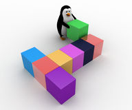3d penguin arranging colorful cubes concept Stock Image