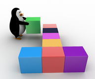 3d penguin arranging colorful cubes concept Royalty Free Stock Image