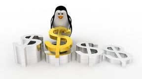 3d penguin arranging and placing dollar symbol concept Royalty Free Stock Photography