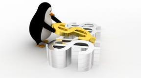 3d penguin arranging and placing dollar symbol concept Stock Photos