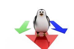 3d penguin on arrow concept Royalty Free Stock Photos