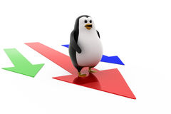3d penguin on arrow concept Royalty Free Stock Images