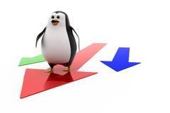 3d penguin on arrow concept Stock Photo