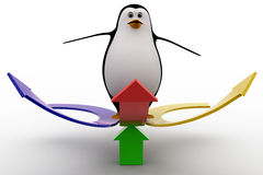 3d penguin on arrow in three directions concept Stock Image