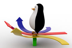 3d penguin on arrow in three directions concept Stock Photo