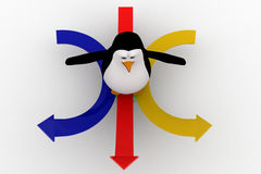 3d penguin on arrow in three directions concept Royalty Free Stock Image